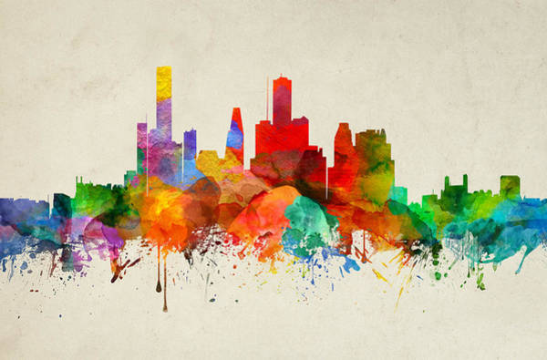 Houston Texas Painting - Houston Texas Skyline 22 by Aged Pixel