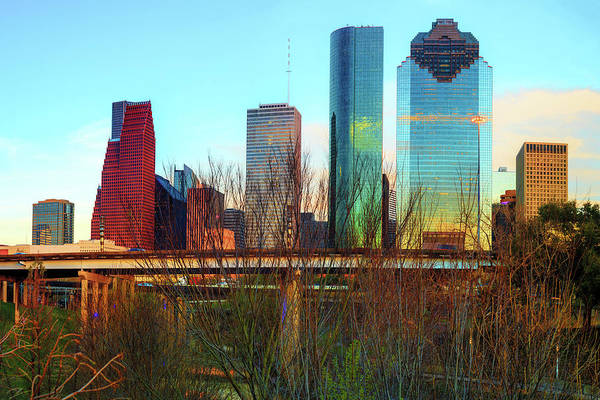 Photograph - Houston Texas Skyline From Sabine Street Bridge by Gregory Ballos