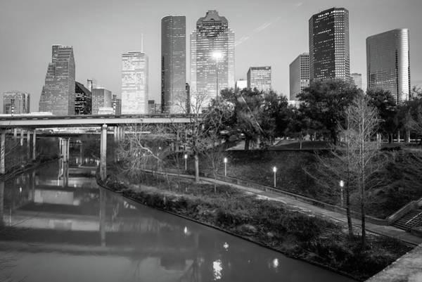 Photograph - Houston Texas Skyline On The Buffalo Bayou - Black And White by Gregory Ballos