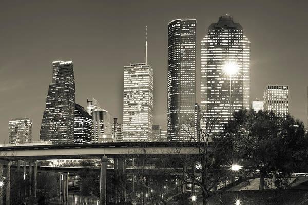 Photograph - Houston Texas Skyline - Sepia Dusk Skies by Gregory Ballos