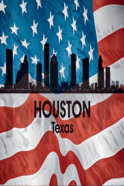 Digital Art - Houston Tx American Flag Vertical by Angelina Tamez