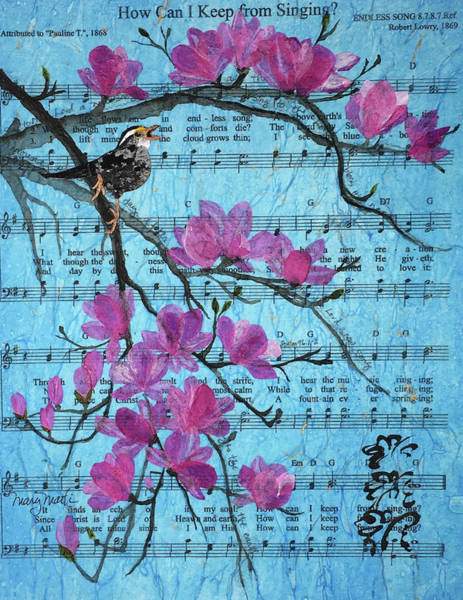 Sparrow Mixed Media - How Can I Keep From Singing? Spring by Mary Martin