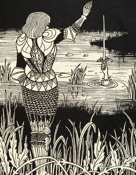 Wall Art - Drawing - How Sir Bedivere Cast The Sword Excalibur Into The Water by Aubrey Beardsley