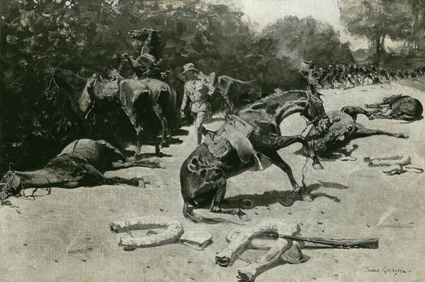 Wall Art - Painting - How The Horses Died For Their Country At Santiago, 1899 by Frederic Remington