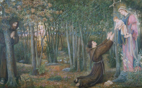 Wall Art - Painting - How The Virgin Came To Brother Conrad In Offia And Laid Her Son In His Arms by Marie Spartali Stillman