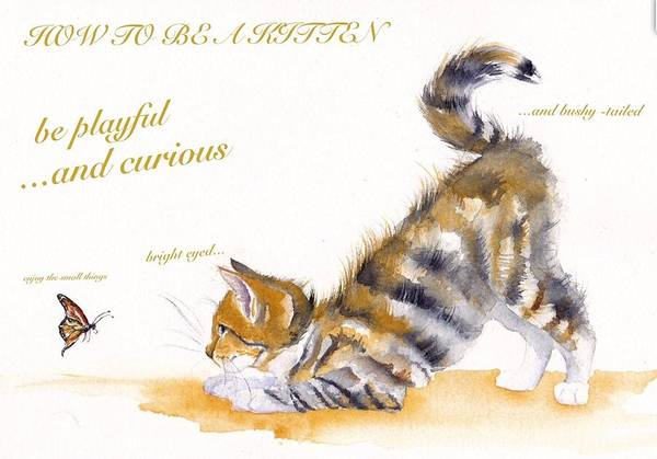 Wall Art - Painting - How To Be A Kitten by Debra Hall