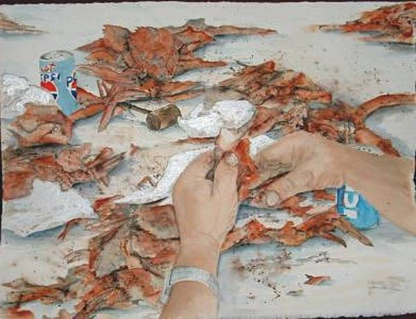 Painting - How To Eat Crabs by Diane Ziemski