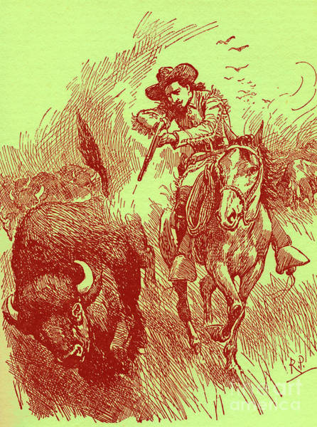 Wall Art - Drawing - How William Cody Came To Be Called Buffalo Bill by Robert Prowse