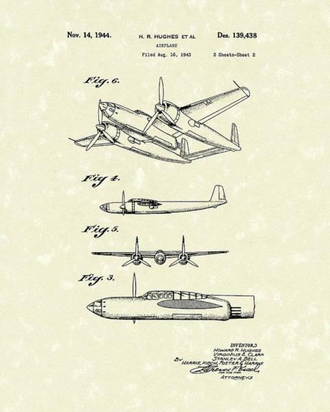 Flight Drawing - Howard Hughes Airplane 1944 Patent Art  by Prior Art Design