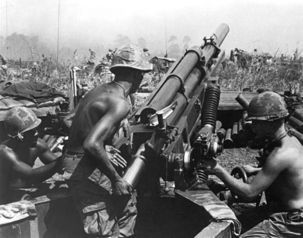 Airborne Photograph - Howitzer Crew In Action by Underwood Archives