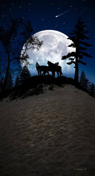 Timber Wolves Digital Art - Howling At The Moon by Brian Wallace