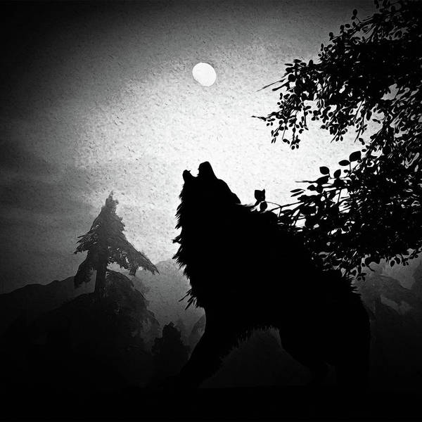 Painting - Howling At The Moon - Monochrome by Andrea Mazzocchetti