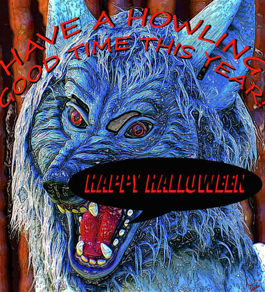 Wall Art - Painting - Howling Good Halloween Card by David Lee Thompson