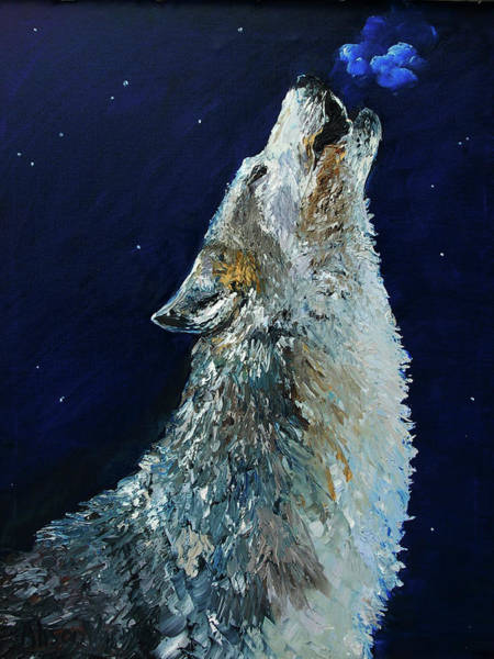 Arctic Wolf Painting - Howling Wolf by Alison Vernon