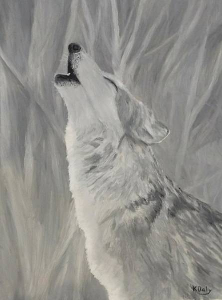 Art Print featuring the painting Howling Wolf by Kevin Daly