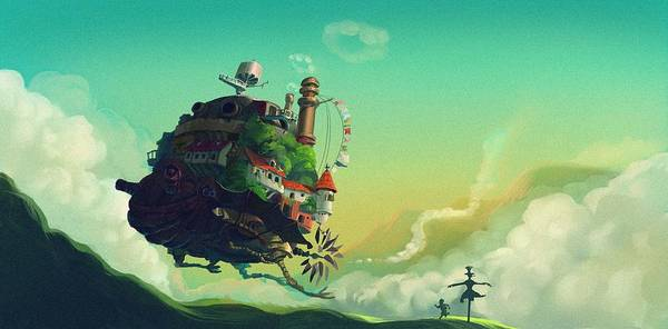 Totoro Digital Art - Howl's Moving Castle by Lobito Caulimon
