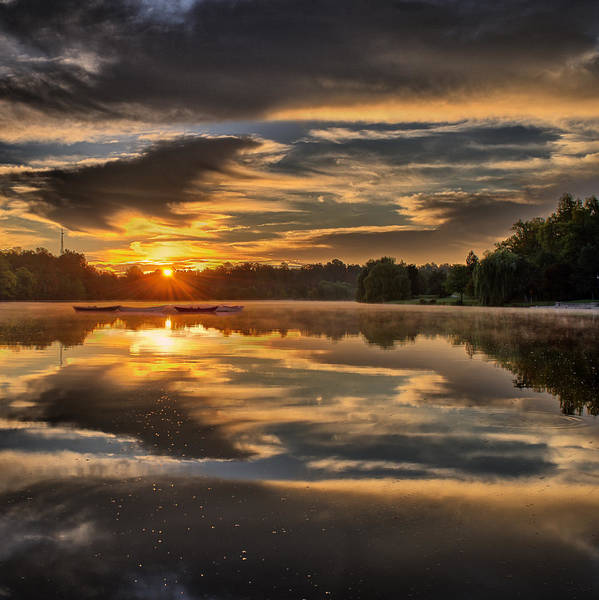 Wny Wall Art - Photograph - Hoyt Lake Sunrise - Square by Chris Bordeleau