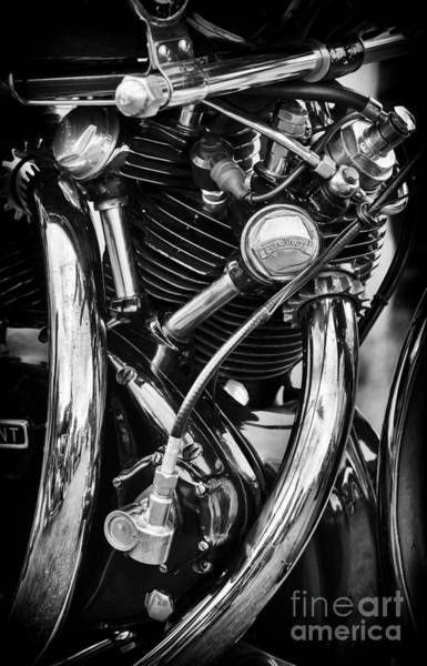 Photograph - Hrd Vincent Series D Engine Detail Monochrome by Tim Gainey