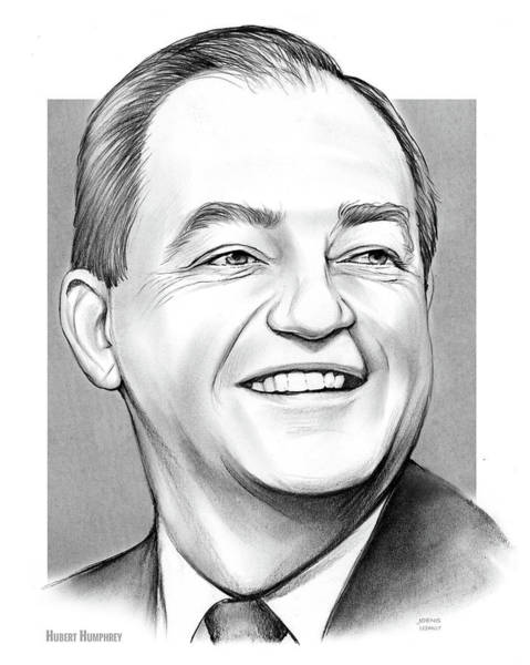 Wall Art - Drawing - Hubert Humphrey by Greg Joens