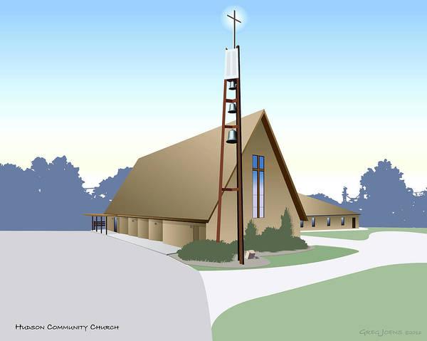 Church Digital Art - Hudson Community Church by Greg Joens