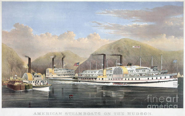 Photograph - Hudson River Steamships by Granger