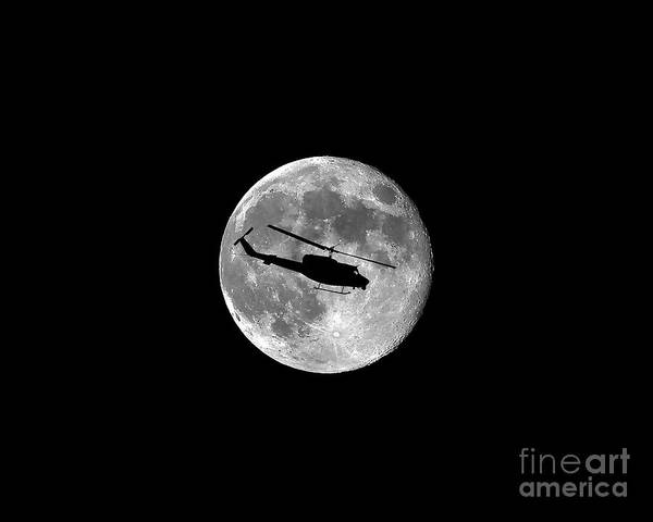 Utility Helicopter Photograph - Huey Moon .png by Al Powell Photography USA