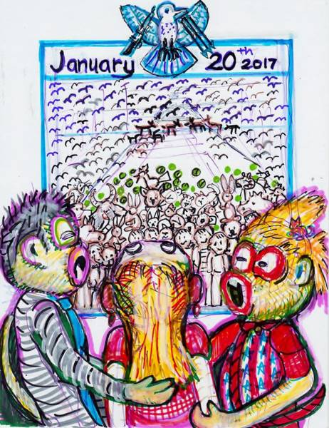 Sock Monkey Drawing - Huge Inauguration January 20, 2017 Huge Biggest Ever by Susan Brown    Slizys art signature name