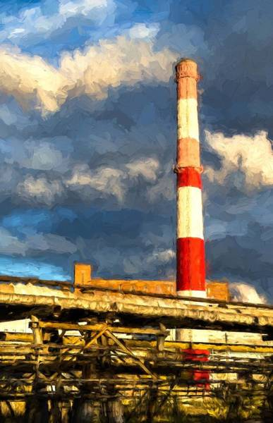 Photograph - Huge Industrial Chimney And Smoke by John Williams