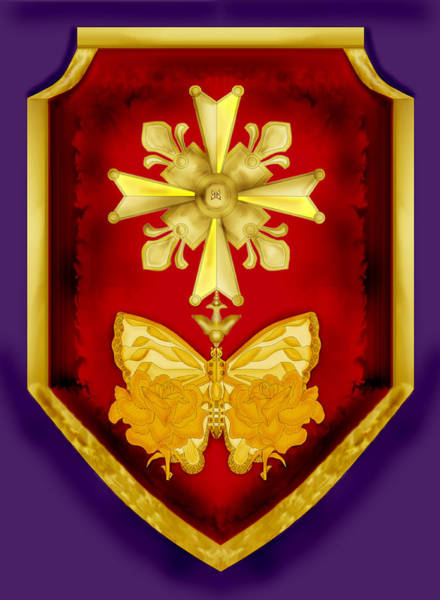 Wall Art - Painting - Huguenot Cross And Shield by Anne Norskog