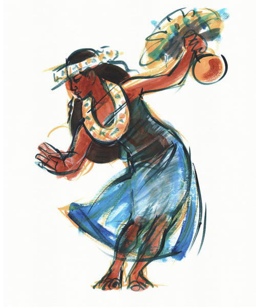 Painting - Hula Dancer With Uli by Judith Kunzle
