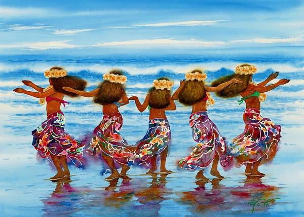 Hula Wall Art - Painting - Hula Dancers 2 by John YATO