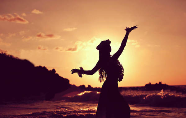 Hula Wall Art - Photograph - Hula Girl Is Dancing On The Sunset Beach by Long Shot