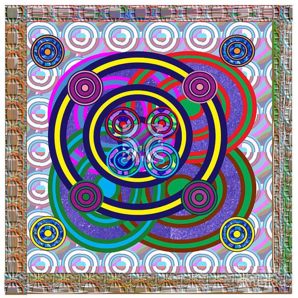 Rights Managed Images Wall Art - Mixed Media - Hula Hoop Circles Tubes Girls Games Abstract Colorful Wallart Interior Decorations Artwork By Navinj by Navin Joshi