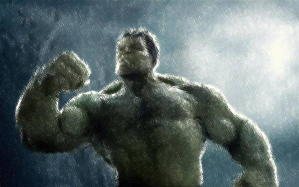 Drawing - Hulk Oil Pastel Sketch by Movie Poster Prints