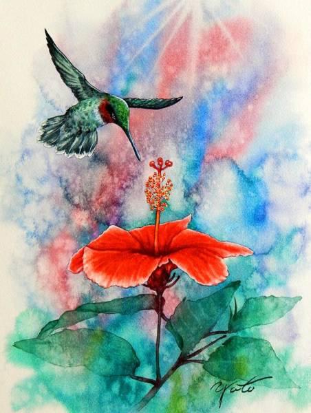 Hibiscus Flower Painting - Humming Bird #2 by John YATO