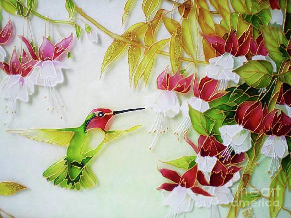 Vitrage Wall Art - Painting - Humming Bird And Fuchsia Flowers by Kseniia Chorna