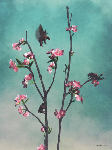 Whimsy Wall Art - Digital Art - Hummingbears by Cynthia Decker