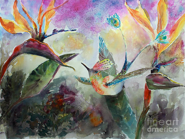Painting - Hummingbird And Birds Of Paradise Tropical Watercolor by Ginette Callaway
