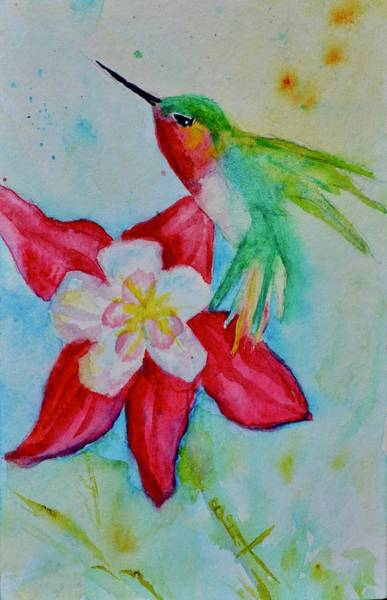 Painting - Hummingbird And Red Columbine by Beverley Harper Tinsley