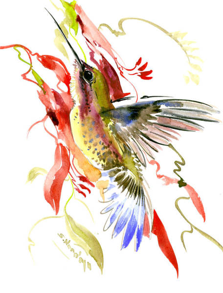 Wall Art - Painting - Hummingbird And Tropical Plants by Suren Nersisyan