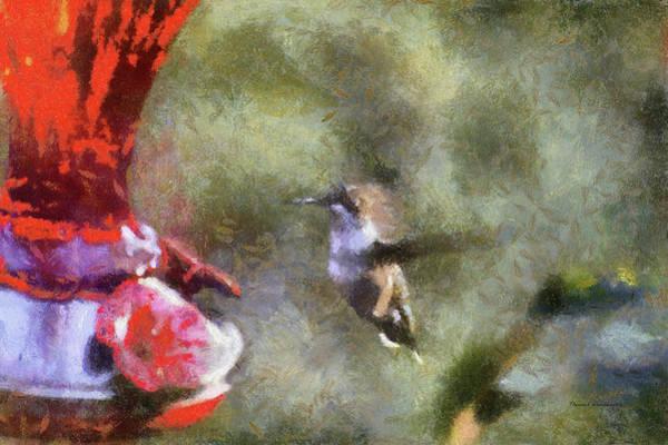 Nectar Mixed Media - Hummingbird At Sunrise Ready For A Sip Pa by Thomas Woolworth