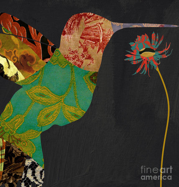 Tapestries Textiles Wall Art - Painting - Hummingbird Brocade Iv by Mindy Sommers