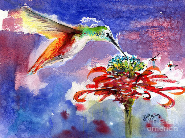 Painting - Hummingbird Drinking From Red Flower by Ginette Callaway
