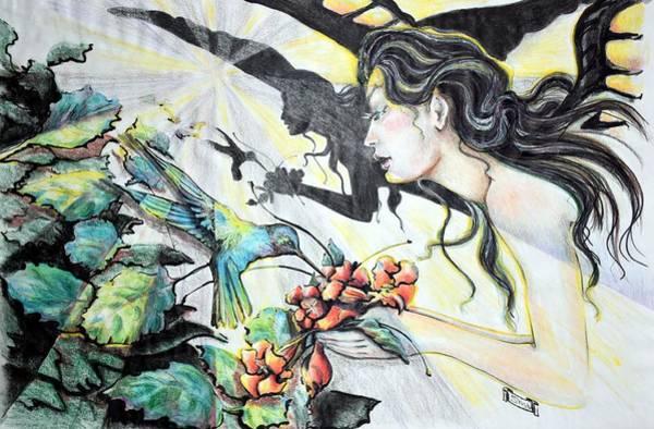 Yellow Trumpet Mixed Media - Hummingbird Feeder by Susan Moore