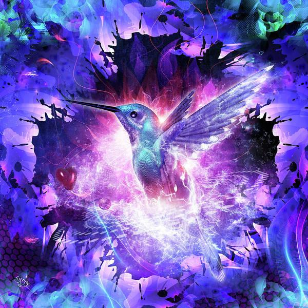 Flames Digital Art - Hummingbird Love by Cameron Gray