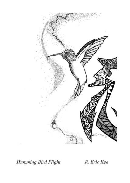 Wall Art - Drawing - Hummingbird Flight by Eric Kee