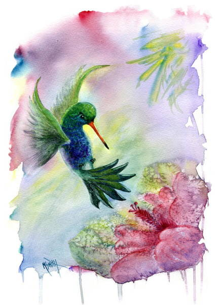 Hibiscus Flower Painting - Hummingbird Happiness by Marilyn Smith