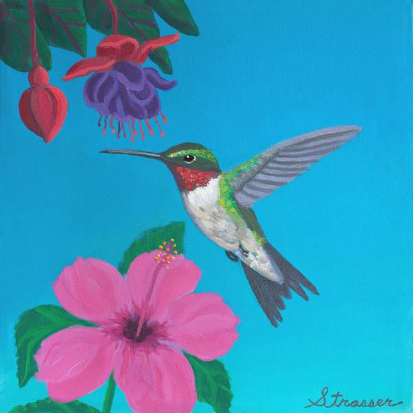 Hibiscus Flower Painting - Hummingbird Heaven by Frank Strasser