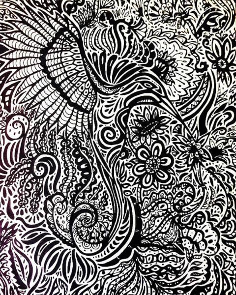 Sharpie Wall Art - Drawing - Hummingbird Madness by Janine Messenger