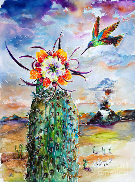 Painting - Hummingbird On Cactus Flower Watercolor  by Ginette Callaway